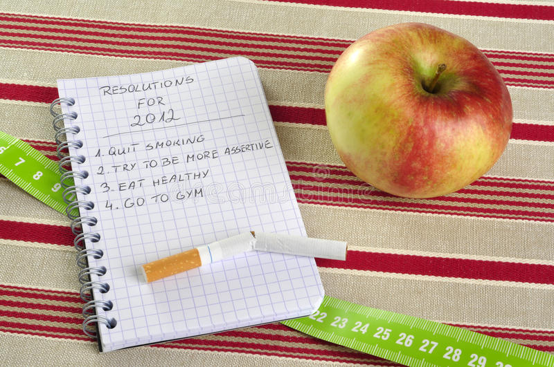 New Year's resolutions list stock photos