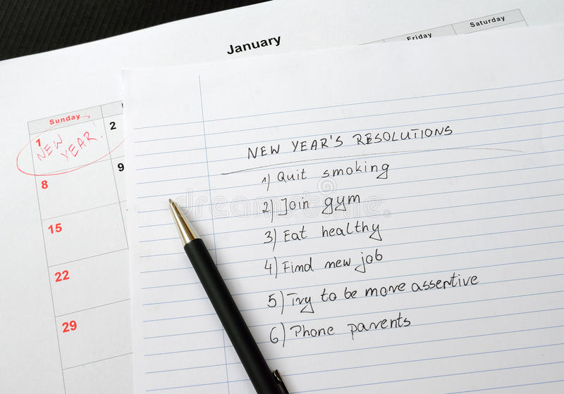 New Year's resolutions listed royalty free stock images