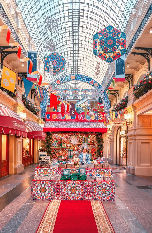 New Year`s scenery in GUM on Red Square. Christmas tree. stock images