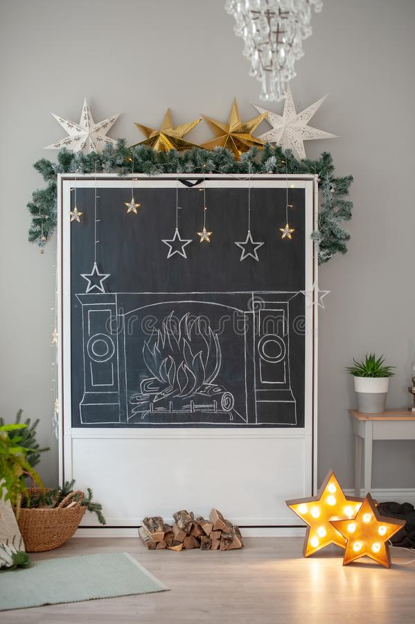 New Year`s scenery in the interior. Christmas, New Year`s scenery in the interior royalty free stock photography