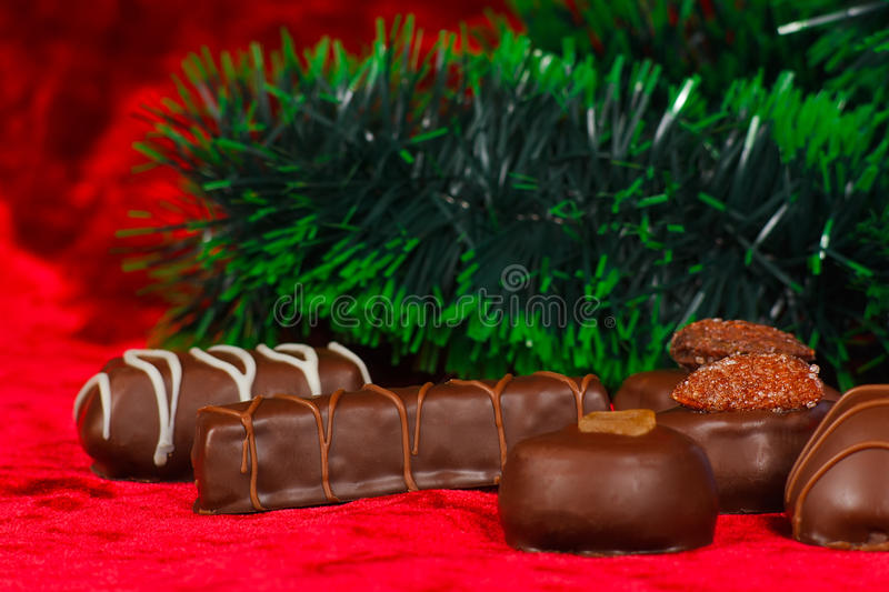 New Year's still life of chocolate candy royalty free stock photo