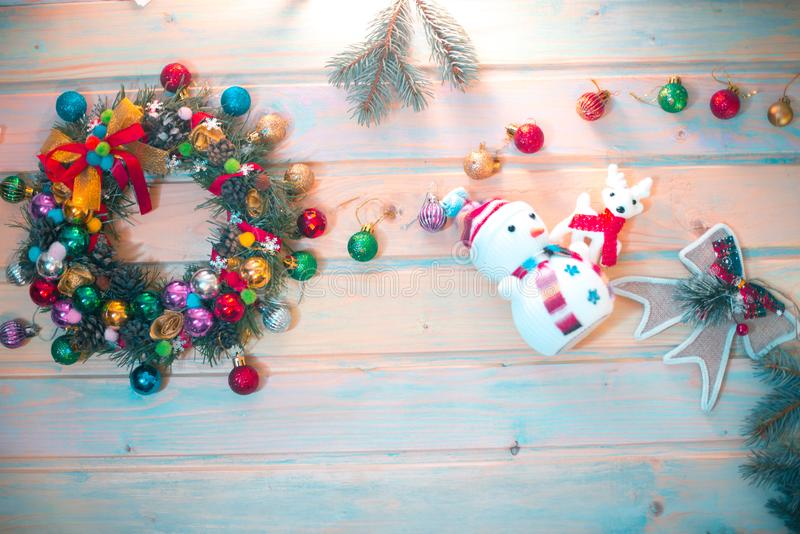 New Year`s still-life. Decoration on a wooden background. New Year`s still-life. Decoration on a wooden background stock photo