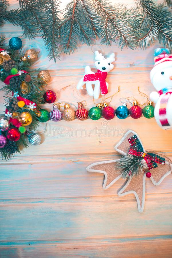 New Year`s still-life. Decoration on a wooden background. New Year`s still-life. Decoration on a wooden background royalty free stock images