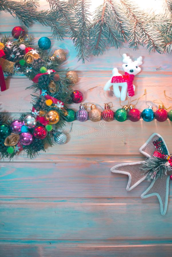 New Year`s still-life. Decoration on a wooden background. New Year`s still-life. Decoration on a wooden background stock image