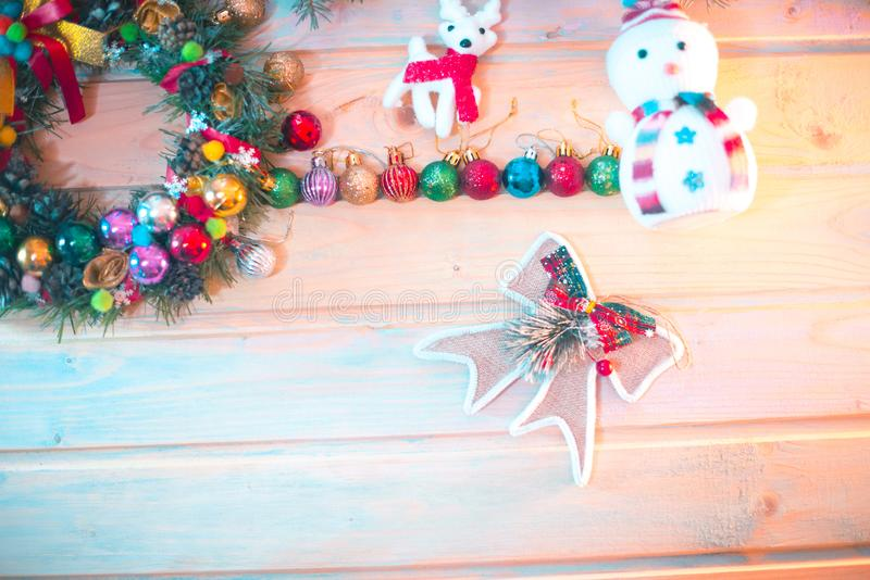 New Year`s still-life. Decoration on a wooden background. New Year`s still-life. Decoration on a wooden background royalty free stock photo