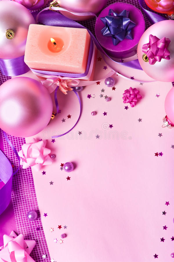 Download New Year's Still-life In Violet Tones (top View) Stock Image - Image: 11764439