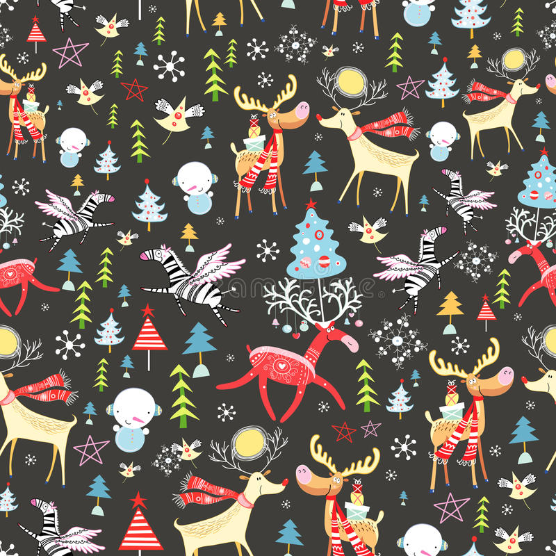 New Year's texture with deer vector illustration