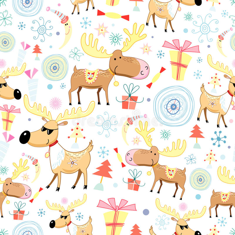 New Year's texture with moose vector illustration