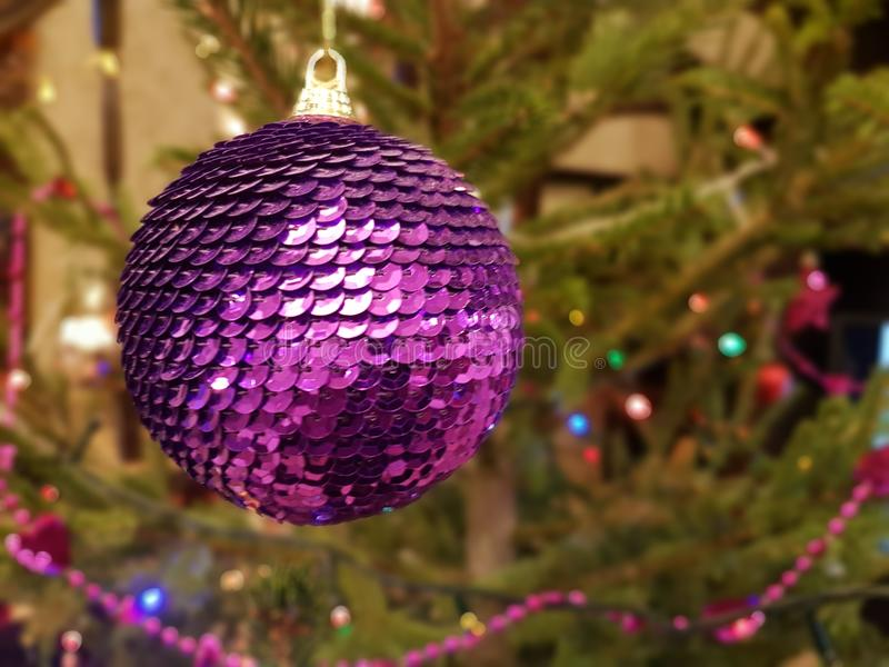 New Year`s toy on the Christmas tree star, background royalty free stock images