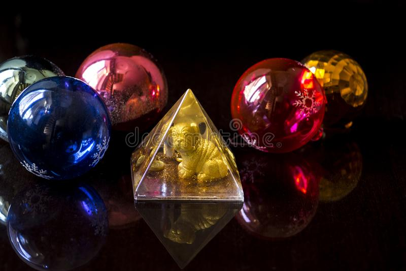 New Year`s toys in the year of the Dog. stock photo