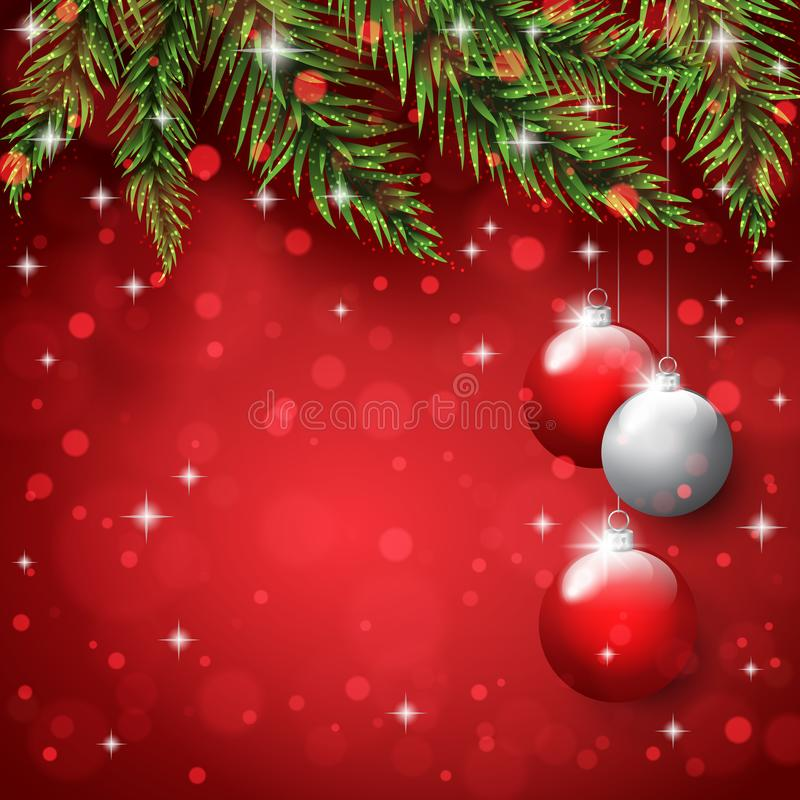New Year`s toys on the pine tree branches on the christmas postcard background stock photography