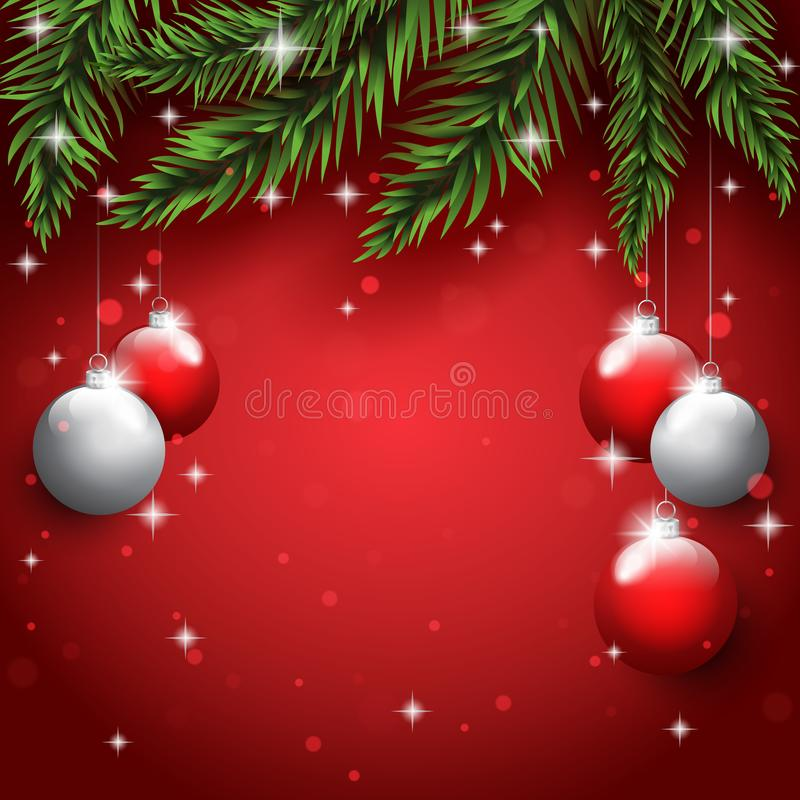 New Year`s toys on the pine tree branches on the christmas postcard background stock images