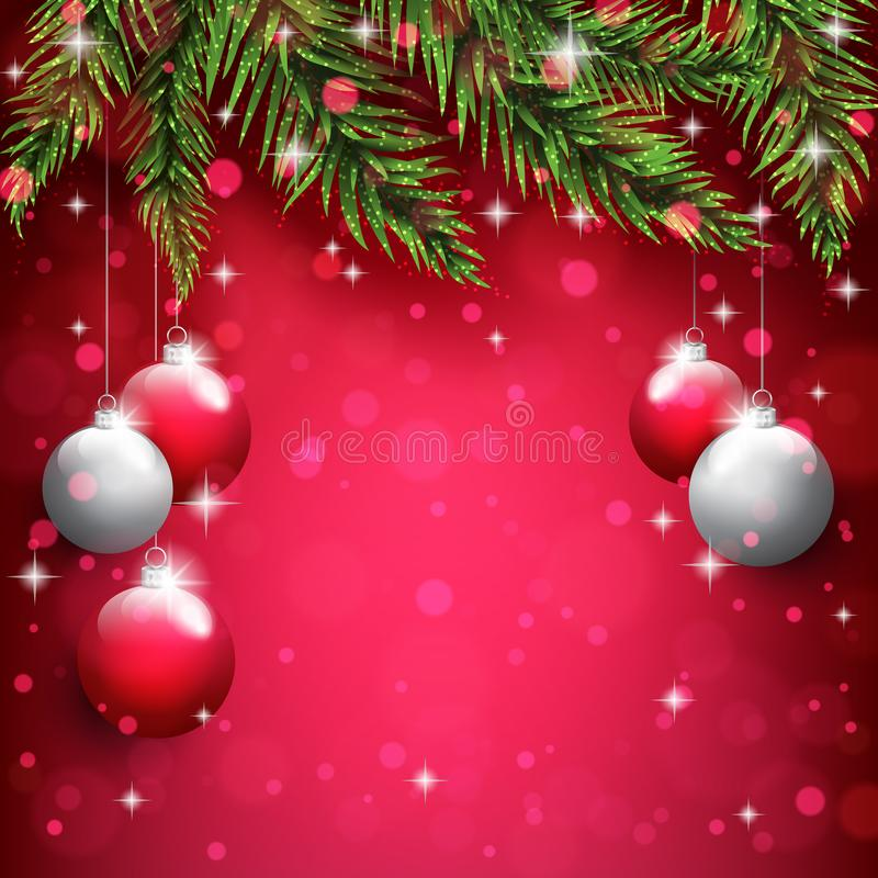 New Year`s toys on the pine tree branches on the christmas postcard background royalty free stock photography