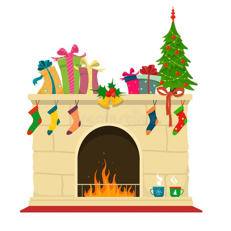 New Year`s traditional fireplace. Christmas brown brick fireplace with such decorations as socks,hot mugs, christmas tree and gift vector illustration