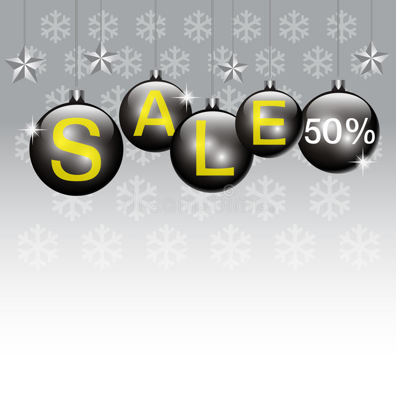 New Year Sale background. Christmas ball,snowflake and text stock illustration
