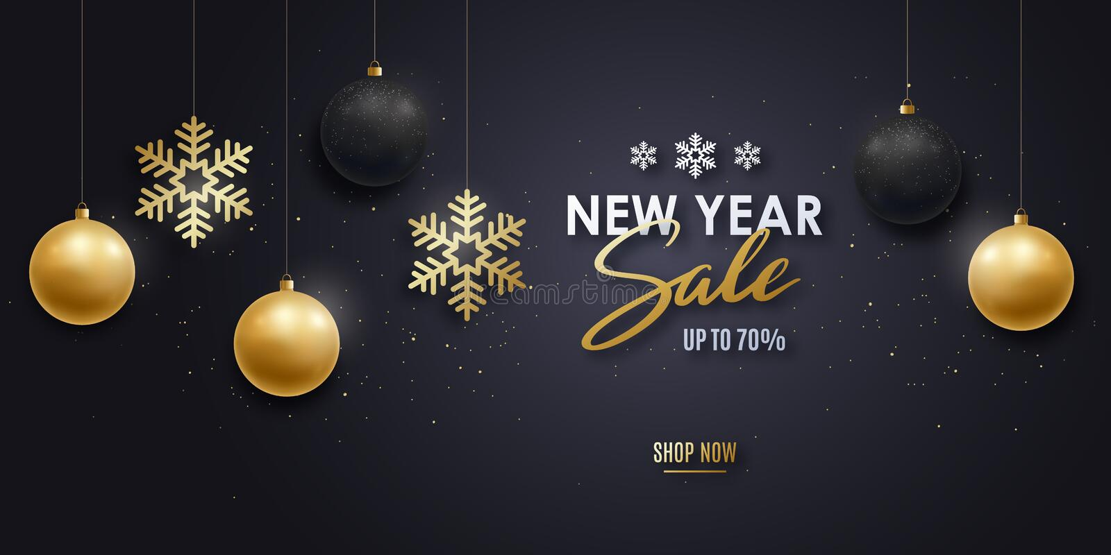 New Year sale banner. royalty free illustration