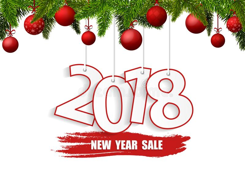 New Year Sale 2018 banner with red Christmas balls royalty free illustration