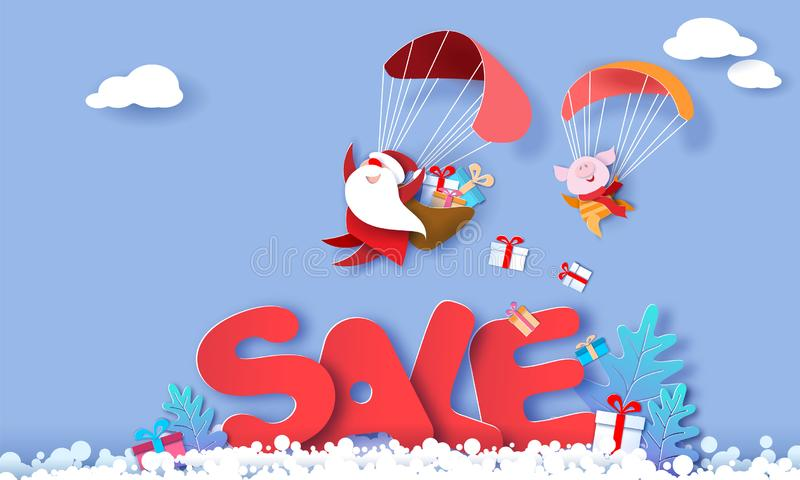 2019 New Year Sale design card with Santa Claus. 2019 New Year advertising design. Santa Claus and funny pig Flying with Parachute over big letters SALE blue stock illustration