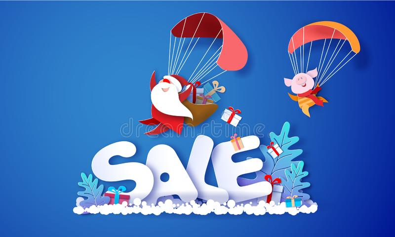 2019 New Year Sale design card with Santa Claus stock illustration