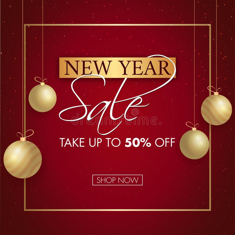 New Year Sale poster or template design with 50% discount offer and hanging baubles. stock illustration