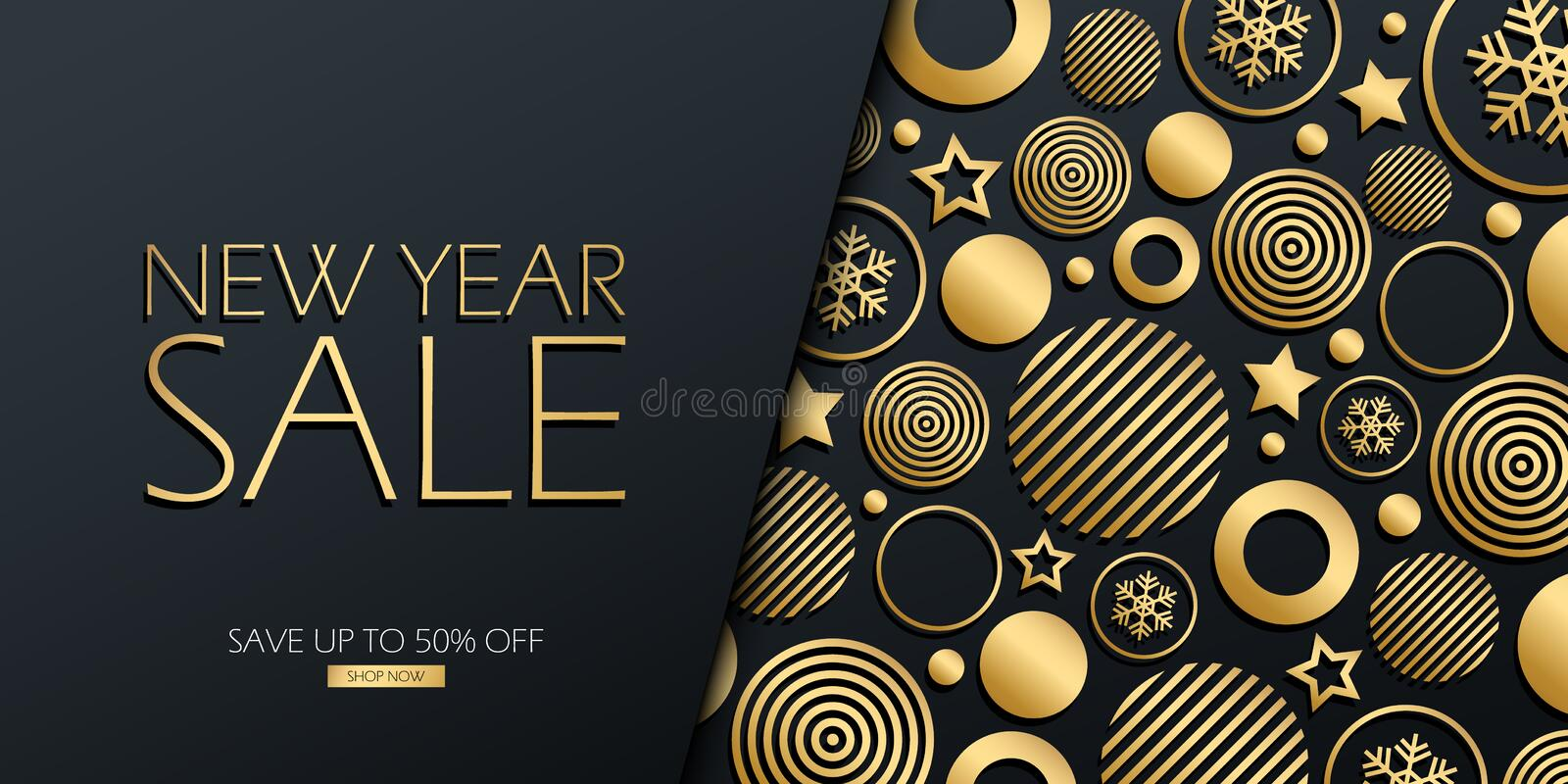 New Year Sale special offer luxury banner with gold colored christmas balls, stars and snowflakes on black background. vector illustration