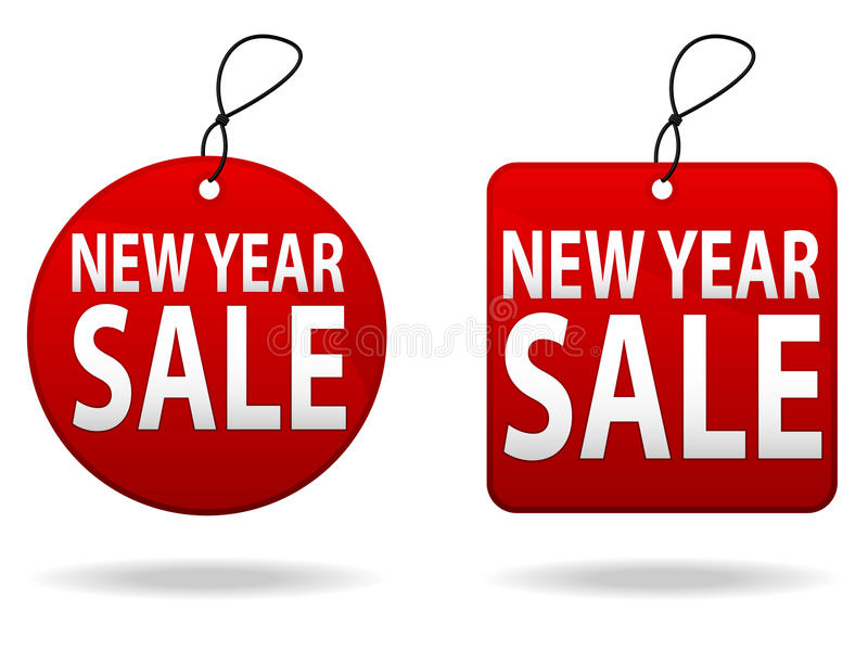 New Year Sale Tags. Illustrations of a set of New Year's Sale tags