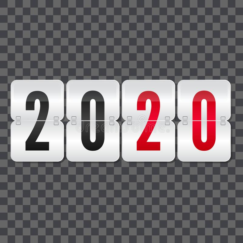 2020 New Year Scoreboard isolated icon 用于庆祝、装饰、插图、设计的装饰矢量翻盖符号 库存例证