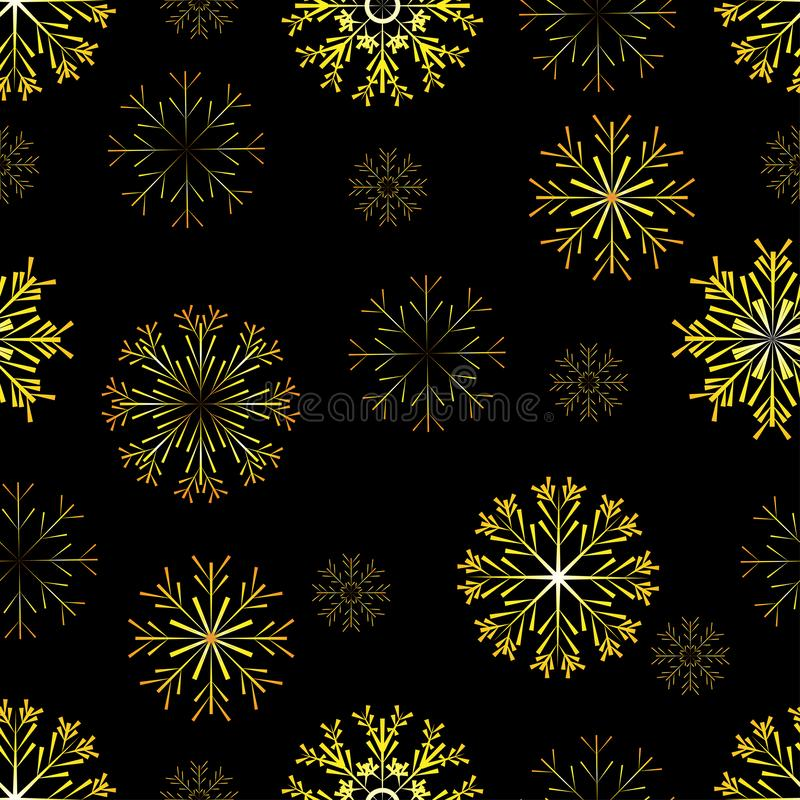 New Year seamless pattern. On a black background golden snowflakes. Vector illustration royalty free illustration