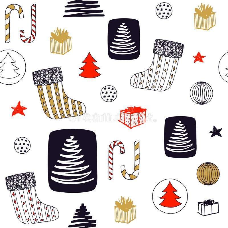 New Year seamless pattern with christmas stocking, candy, christmas tree, balls ang gifts. Hand drawn vector design stock illustration
