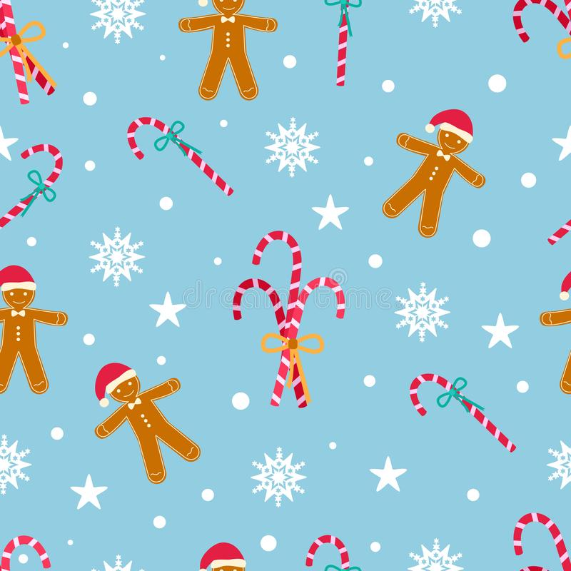 New Year seamless pattern with gingerbread man and christmas candies on a blue background. Vector illustration in flat style stock illustration