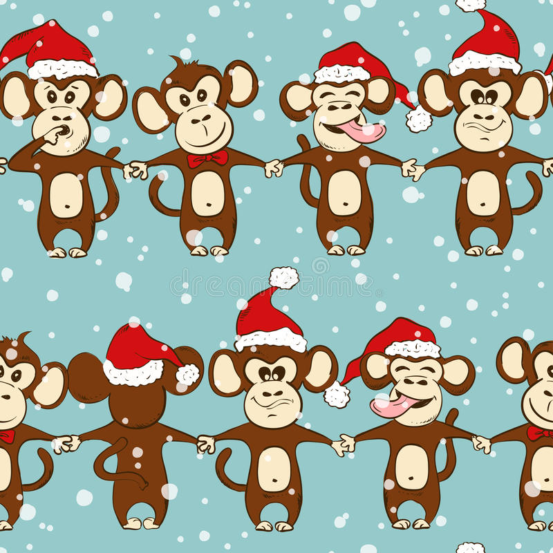 New Year Seamless Pattern With Monkey Holding Hands. stock illustration