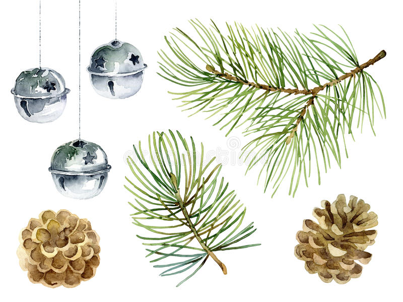 New Year set of pine branches, balls and cones royalty free illustration