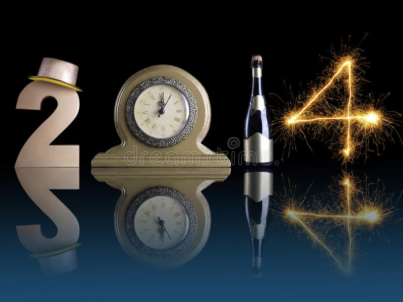 New 2014 Year. New Year 2014 set up of golden digit two, table clock, bottle of champagne and digit four created from burning sparkler all with mirror reflection royalty free stock images