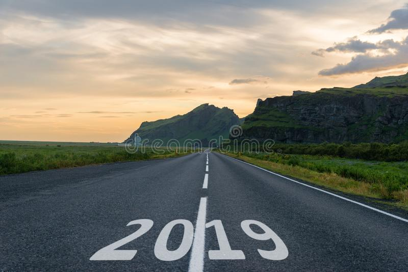 New Year sign, 2019 number on highway stock image