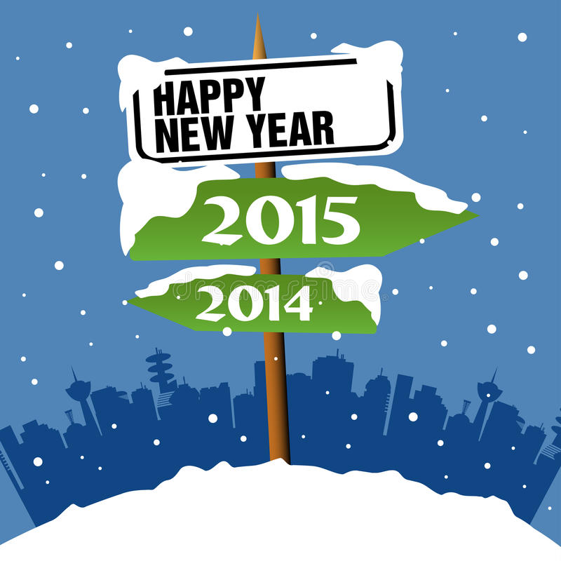 New Year signpost. Abstract colorful illustration with a snowy signpost with the text Happy New Year and two green arrows with the years 2014 and 2015 written on stock illustration