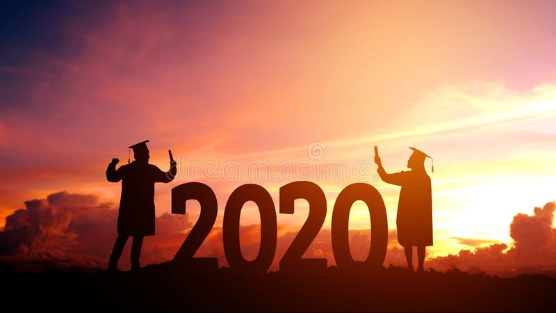 2020 New year Silhouette people graduation in 2020 years education congratulation concept ,Freedom and Happy new year stock photography