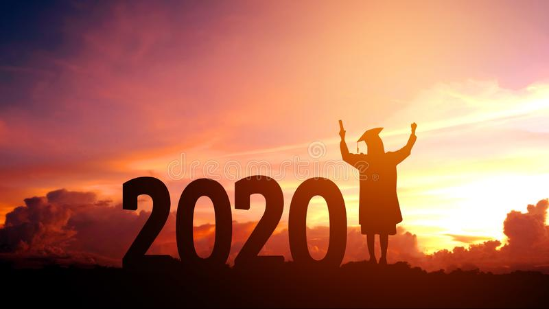 2020 New year Silhouette people graduation in 2020 years education congratulation concept ,Freedom and Happy new year stock image