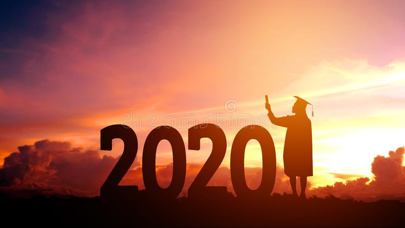 2020 New year Silhouette people graduation in 2020 years education congratulation concept ,Freedom and Happy new year royalty free stock photos
