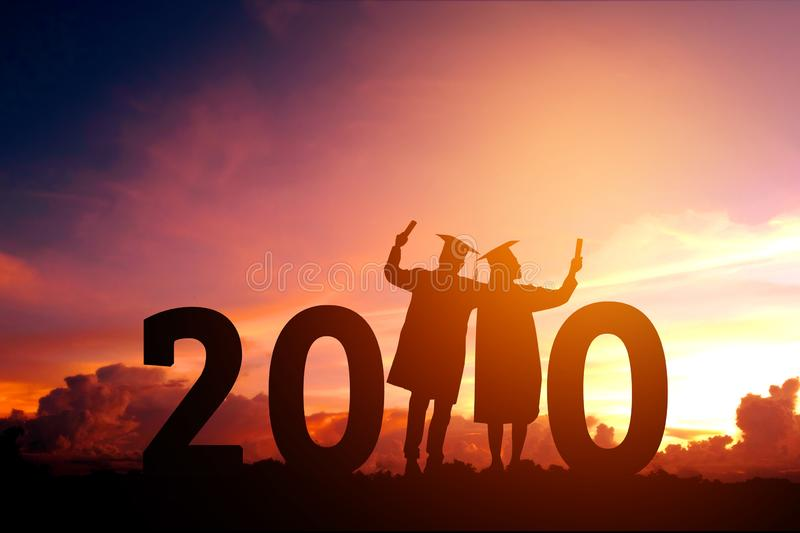 2020 New year Silhouette people graduation in 2020 years education congratulation concept ,Freedom and Happy new year royalty free stock images