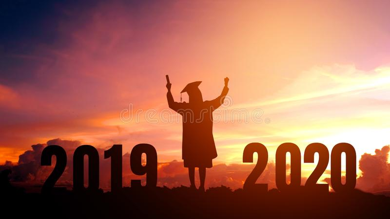 2020 New year Silhouette people graduation in 2020 years education congratulation concept ,Freedom and Happy new year royalty free stock photo