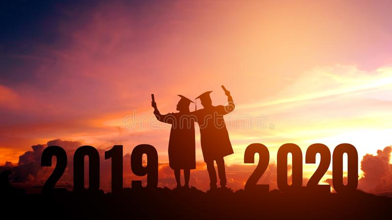 2020 New year Silhouette people graduation in 2020 years education congratulation concept ,Freedom and Happy new year royalty free stock image