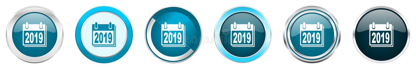 New year 2019 silver metallic chrome border icons in 6 options, set of web blue round buttons isolated on white background vector illustration