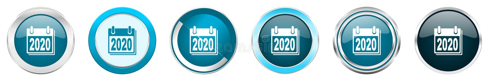 New year 2020 silver metallic chrome border icons in 6 options, set of web blue round buttons isolated on white background.  stock illustration