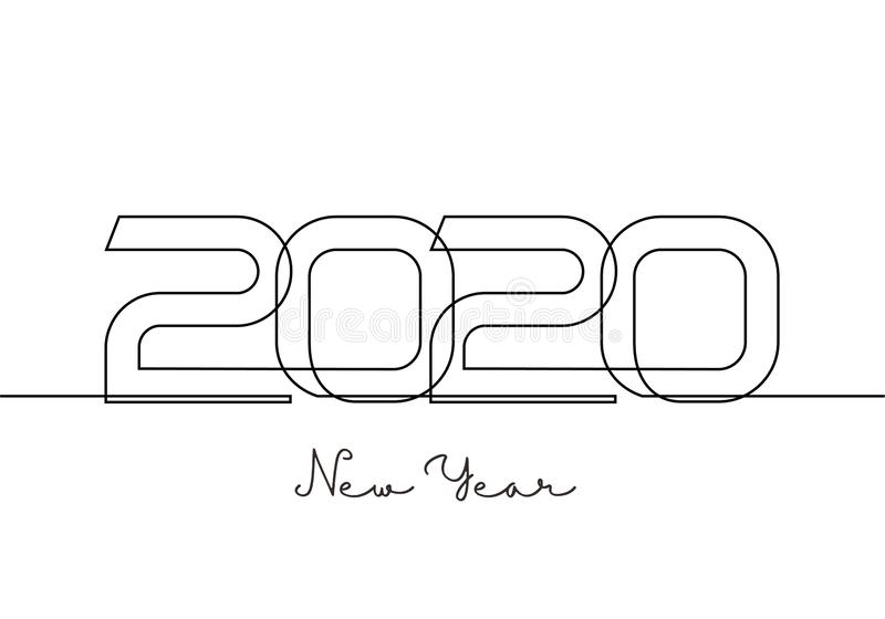 2020 New Year single continuous one line drawing art. Holiday greeting card minimalism sketch hand drawn decoration. Vector stock illustration
