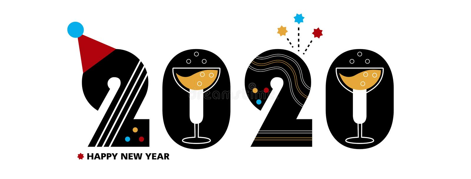 2020 - New Year site or facebook cover, vector template for a poster, banner, postcard vector illustration