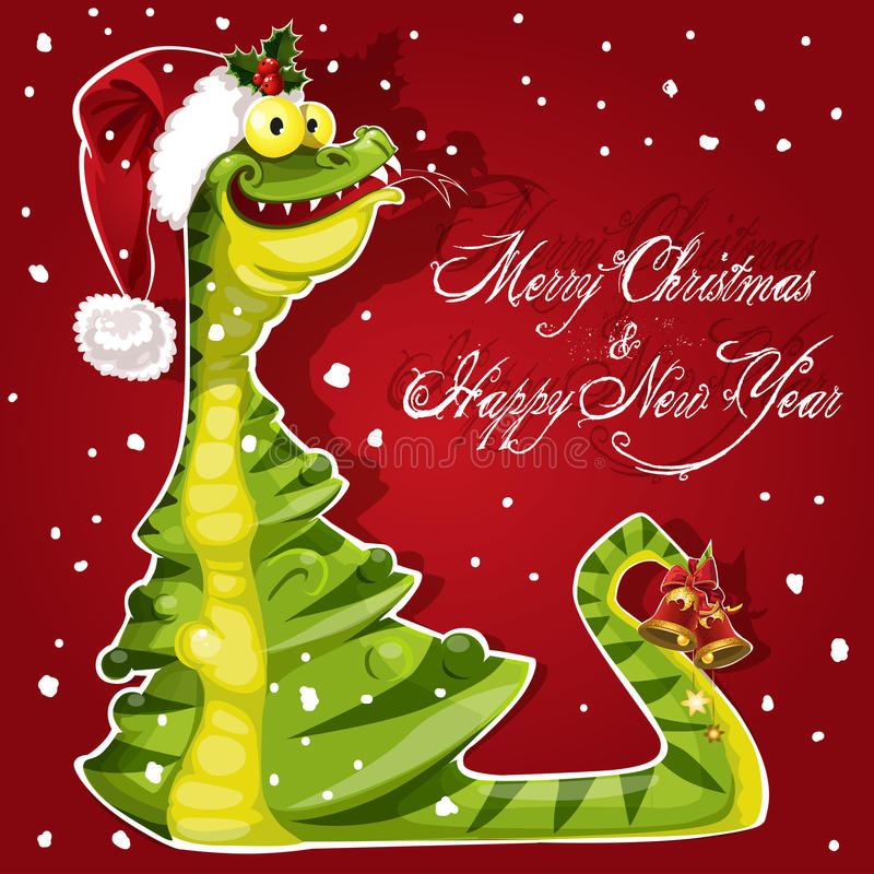New Year Snake ate a Christmas tree banner on red royalty free stock images