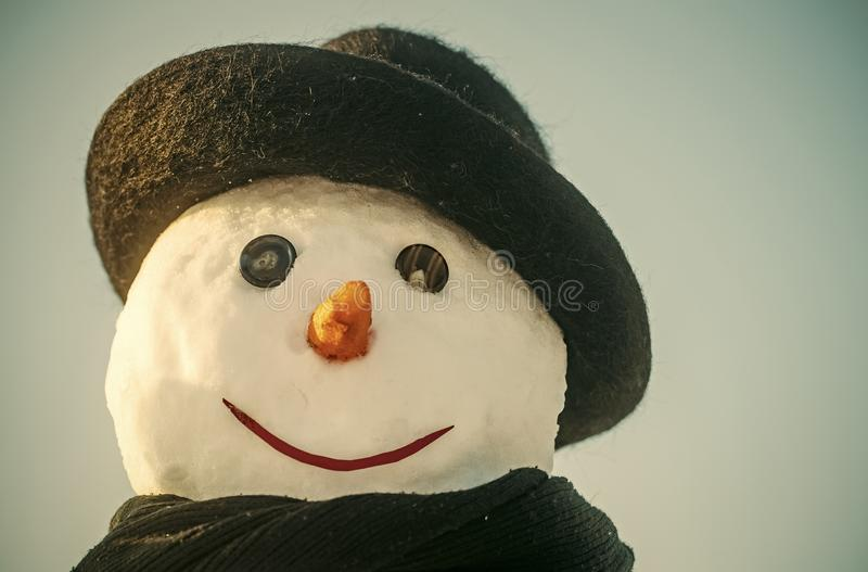New year snowman spy agent. stock photography