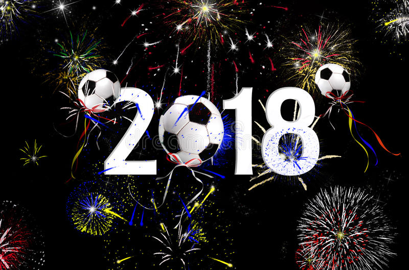 New Year 2018 soccer ball balloons royalty free stock photo