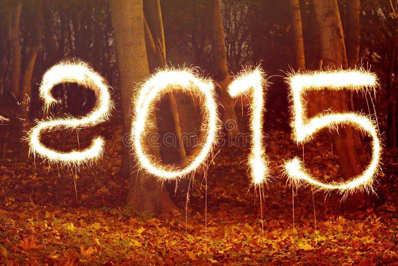 New year 2015, sparking royalty free stock images
