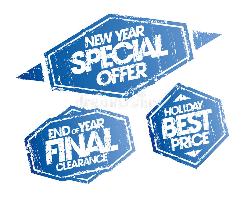New year special offer, end of year final clearance and holiday best price stamps set royalty free illustration
